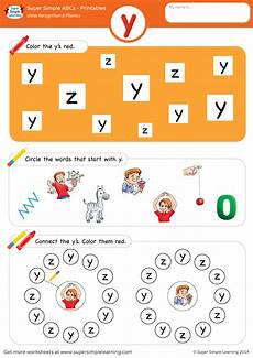 letter recognition phonics worksheet y lowercase super simple