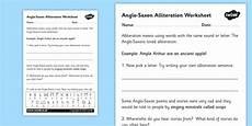 anglo saxons alliteration worksheet anglo saxons anglo saxons