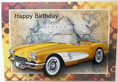 Yellow Vintage Sports Car Card Front  Photo By Eunice Roberts