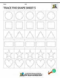geometry addition worksheets kindergarten 781 shape tracing worksheets kindergarten