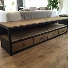 meuble tv 4 tiroirs coulissants acier noir mat et bois