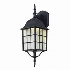 hton bay 1 light black outdoor wall lantern bpm1691 blk the home depot