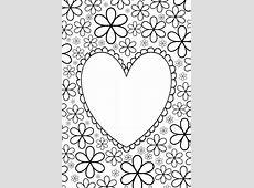 Grote   mensen   kleurplaat: hart met bloemen