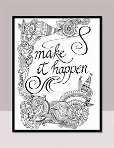 mandala coloring pages with quotes 17979 make it happen printable motivational quotes diy zentangle etsy