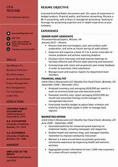 certified accountant cpa resume exle tips