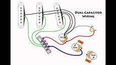 strat wiring diagrams stratocaster mod wiring dual capacitors youtube