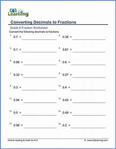 learning decimals worksheets 7201 grade 6 math worksheet fractions converting decimals to fractions k5 learning