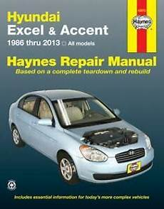 free service manuals online 2013 hyundai accent on board diagnostic system hyundai excel accent 1986 thru 2013 haynes repair manual 43015 ebay