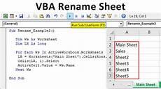 vba rename sheet how to rename excel worksheet using vba code