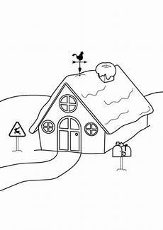 Ausmalbilder Haus Mit Schnee Kostenlose Malvorlage Winter Haus Im Schnee Ausmalen Zum