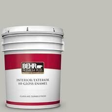 behr premium plus 5 gal ppu25 09 foggy london hi gloss enamel interior exterior paint 805005
