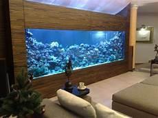 aquarium eingebaut schrank wohnzimmer blaue beleuchtung