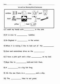 oa and ow oa digraph worksheets by barang teaching resources tes