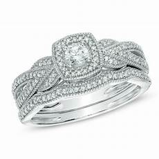 1 3 ct t w diamond braid vintage style frame bridal in 10k white gold engagement rings