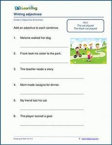 writing adjectives worksheets for grade 2 k5 learning