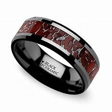 beveled dinosaur bone inlay men s wedding ring in black ceramic