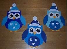 3 kleine winter eulen fensterbild aus tonkarton blau