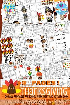 free printable 60 page preschool and kindergarten thanksgiving worksheet and activity book