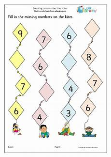 counting kites a number line number lines maths worksheets for later reception age 4 5