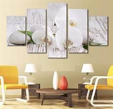 5 Pieces Canvas Prints White Orchid Pebbles Zen Buddha