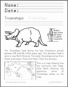dinosaur worksheets for toddlers 15308 triceratops coloring worksheet student handouts
