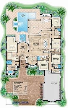 mediterranean house plans with pool mediterranean house plan luxury 1 story home floor plan