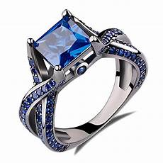 2 0ct princess cut created blue sapphire engagement ring 14k black gold rhodium plating over