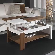 Table Basse Relevable Blanc Et Noyer Contemporaine