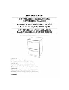 Kitchenaid Dishwasher Install Manual by Kitchenaid Kudd03dtpa 24 Quot Drawer Dishwasher Manuals