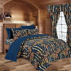 7 pc navy blue camo comforter and sheet queen camouflage woods ebay