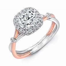 uneek cushion shaped halo platinum engagement ring with