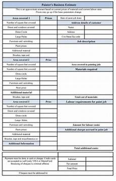 painters business estimate form