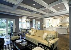 Ceiling Ideas Family Room white kitchen coffered ceiling in family room living