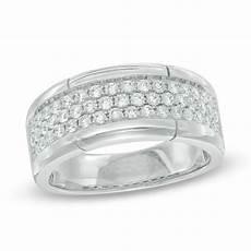men s 1 ct t w diamond three row wedding band in 10k white gold wedding bands wedding