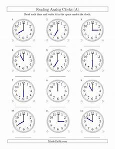 time worksheets on the hour 3122 the reading time on 12 hour analog clocks in one hour intervals a math worksheet from the time
