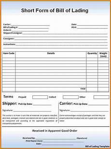 short form 5 bill of lading short form template simple bill