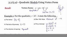 3 3 5 4 quadratic models in vertex form youtube