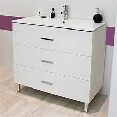 meuble sur pieds 90 cartanne blanc vasque miroir spot