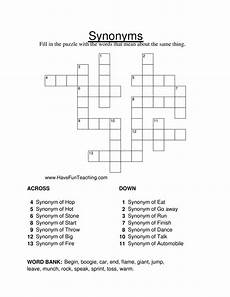 resource second grade synonym crossword puzzle worksheet