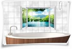 motiv fliesen badezimmer fliesenaufkleber fliesenbild fenster see wasserfall bad wc