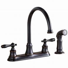 lowes kitchen faucets shop aquasource rubbed bronze 2 handle high arc kitchen faucet side with spray at lowes