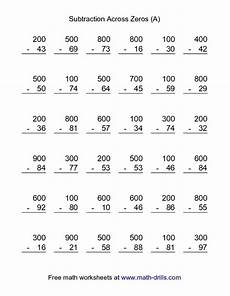 subtraction worksheets with borrowing and zeros 10016 subtraction across zeros a worksheet for 3rd 4th grade lesson planet