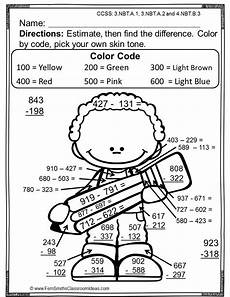 color by number worksheets for 3rd grade 16146 3rd grade go math 1 8 rounding to estimate differences color by number go math third grade
