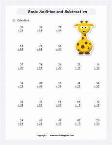 worksheets for grade 1 addition and subtraction 9399 basic operations printable grade 1 math worksheet