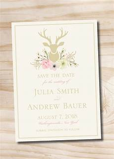 printable wedding invitation suite deer antler pink floral rustic watercolor floral deer buck antlers save the date