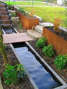 Kleingarten Anlegen Teich Treppe Terrasse Wasserspiele