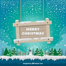 landscape background with a sign merry christmas vector free download