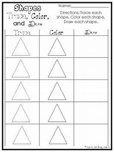 14 printable 2 d shapes trace color and draw worksheets preschool kdg math