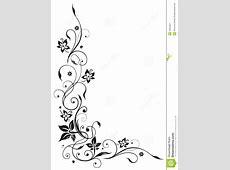 Bloemenrank, Zwarte Bloemen, Vector Illustratie