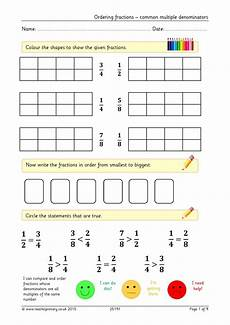 ordering fractions common denominators basic fractions home page